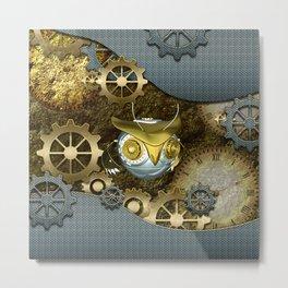Steampunk, awesome owl Metal Print