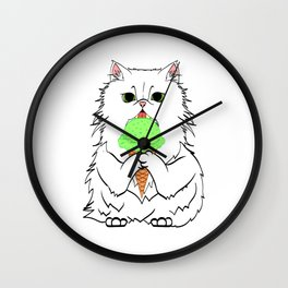 Nice Gift for Cat Lovers A Cat Eating Ice Cream Tee White T-shirt Design Kitty Kitten Animals Cute Wall Clock