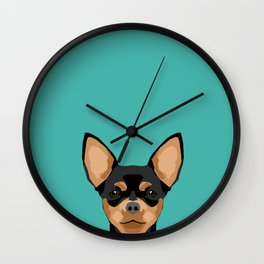 Chihuahua dog head pet portrait cute pet art chiwawas dog breed pure breeds Wall Clock