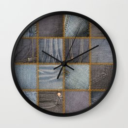 Denim Patchwork Wall Clock