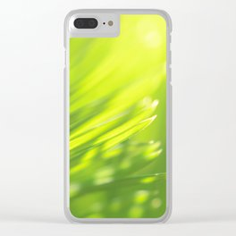 Palm tree leaves Tropical summer green yellow jungle Clear iPhone Case
