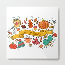 Stay Cozy in Autumn Metal Print