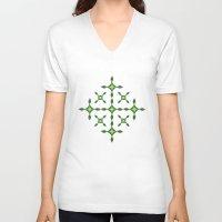 batik V-neck T-shirts featuring BATIK MODERN  by radea