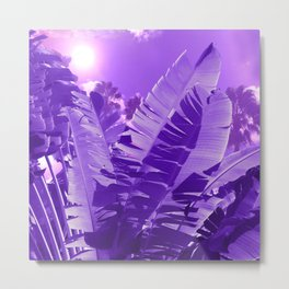 Ultra Violet Tropical Beach Palm Metal Print