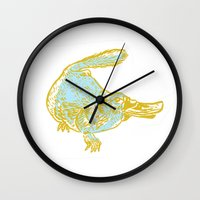 platypus Wall Clocks featuring Platypus by sophieheywood