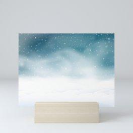 Winter night scene Mini Art Print