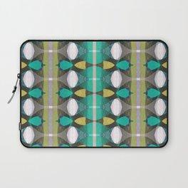 Retro Aqua Turquoise & Gold Geometric Textile Laptop Sleeve