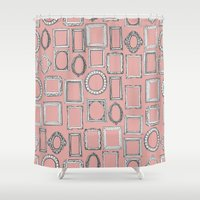 frames Shower Curtains featuring picture frames mimosa by Sharon Turner