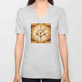 Traditional antique clock face with Roman numerals shown in an ornate brass gilded frame  Unisex V-Neck