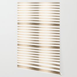 Simply Striped in White Gold Sands Wallpaper
