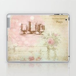 Pretty Vintage Pink Ephemera and Floral Collage Laptop & iPad Skin