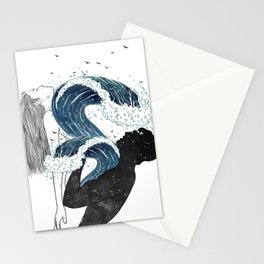 Through waves and galaxy. Stationery Cards
