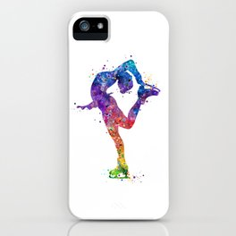 Ice Skating Girl Colorful Watercolor Art Gift iPhone Case