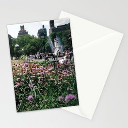 Flowers and Fountain Stationery Cards
