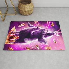 Laser Eyes Space Cat Riding Sloth, Llama - Rainbow Rug