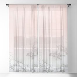 Blush Pink on White and Gray Marble III Sheer Curtain