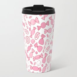 Pink Candies Pattern Travel Mug