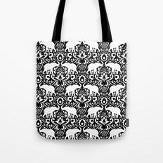 Elephant Damask Black and White Tote Bag