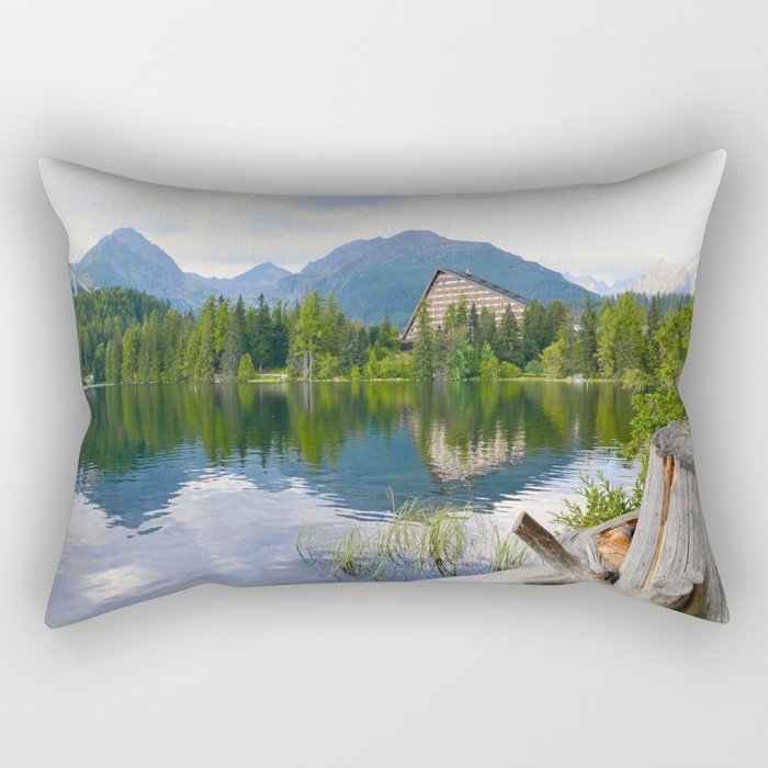 Strbske Pleso in High Tatras mountains Rectangular Pillow