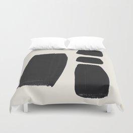 Mid Century Modern Minimalist Abstract Art Brush Strokes Black & White Ink Art Square Shapes Duvet Cover