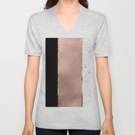 Rose metallic striping - marble and onyx Unisex V-Neck
