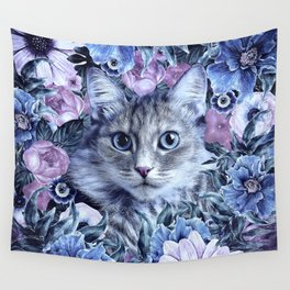 Cat In Flowers. Winter Wall Tapestry