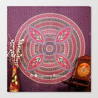 bedding Canvas Prints featuring Purple Mandala Dorm Tapestry Wall Hangings Bedding by Ved India