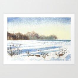 Lake Simcoe, Jacksons Point, Dusk, Jan1st 2013 Art Print