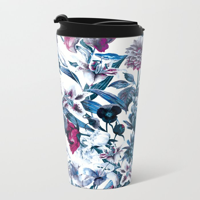 RPE FLORAL BLUE II Metal Travel Mug