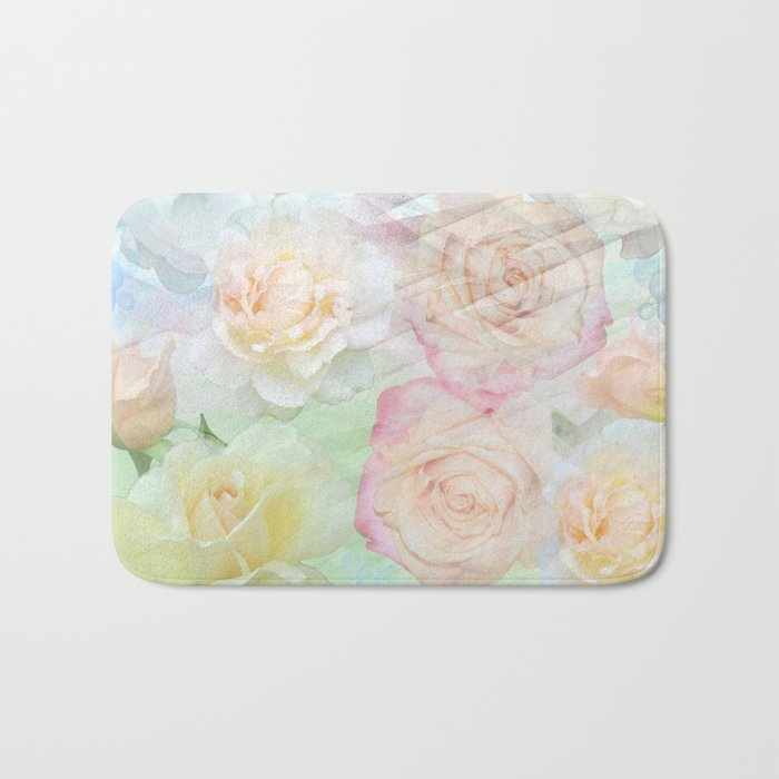 Romantic roses in pastels Bath Mat