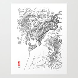 Squid Girl - Song of the Sea Art Print