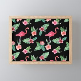 Pink flamingo on black with tropical flowers, hibiscus, protea and palm leaves Framed Mini Art Print