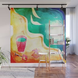watercolor sea painting Wall Mural