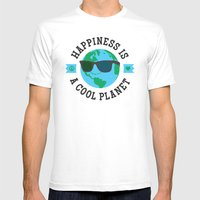 Happiness Is A Cool Planet White Mens Fitted Tee MEDIUM