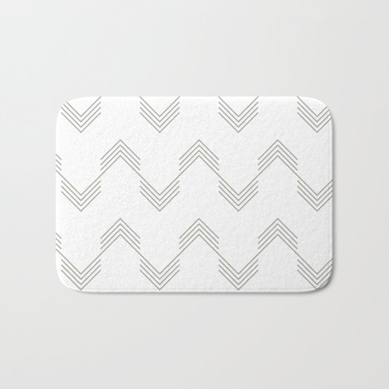 Simply Deconstructed Chevron Retro Gray on White Bath Mat