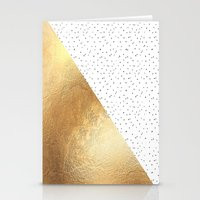 gold dots Stationery Cards featuring Gold and Polka Dots by Jenna Davis Designs