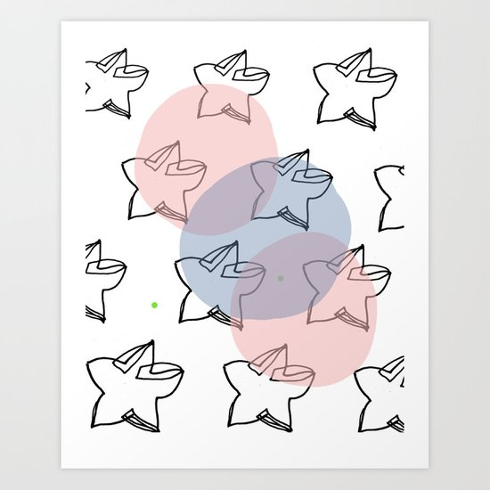 Stars and circles Art Print