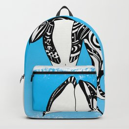 Two Orca Whales Tribal Blue Art Backpack
