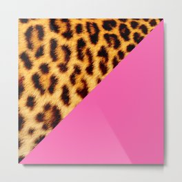 Leopard skin with hot pink II Metal Print