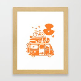 Funny family vacation camper Framed Art Print