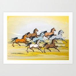 Seven Horses Art Print