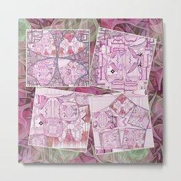 Flamingo Pink Clover Leaf Collage Metal Print