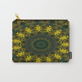 Large Yellow Wildflower Kaleidoscope Art 9 Carry-All Pouch