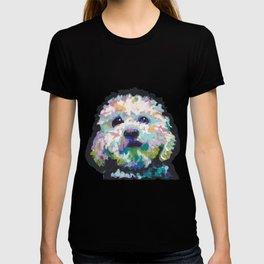 maltese poodle Maltipoo Dog Portrait Pop Art painting by Lea T-shirt