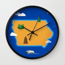 Iowa Island Wall Clock