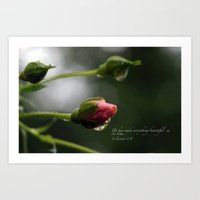 scripture Art Prints featuring Pink Rosebud with scripture. by The Time Catcher