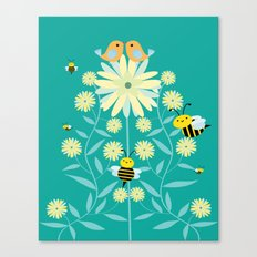 Bees, birds and flowers Canvas Print