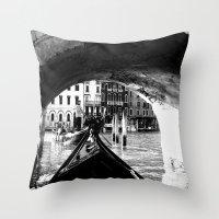 venice Throw Pillows featuring venice by gzm_guvenc