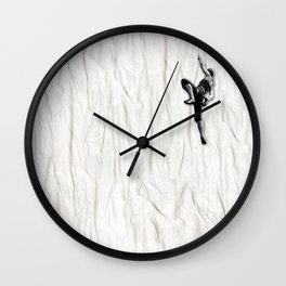 Woman Climbing a Wrinkle Wall Clock