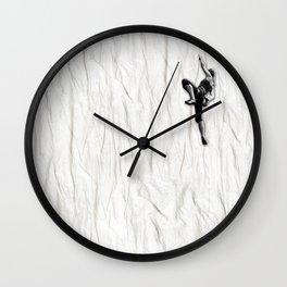Woman Climbing a Wrinkle Wall Clock